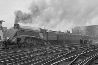 "A previous generation of streamlined locomotive - Sir Nigel Gresleys A4 class member 4468 ""Mallard"" broke the world speed record for steam in 1938 at 126.4 mph - a feat never beaten!"