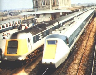 A rare event as the Prototype HST and APT-P meet at Swindon during proving trails