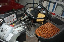 The minimalistic Leyland Atlantean drivers cab showing the later electro-pneumatic gear selector beside the steering wheel.