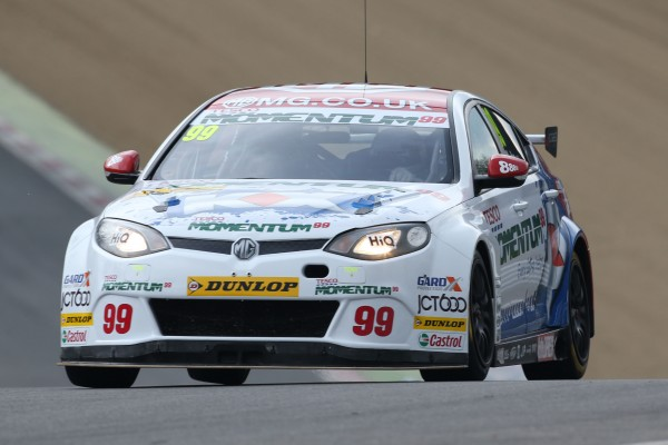 Jason Plato's newly re-liveried MG6 GT during FP1 at Brands Hatch last Saturday