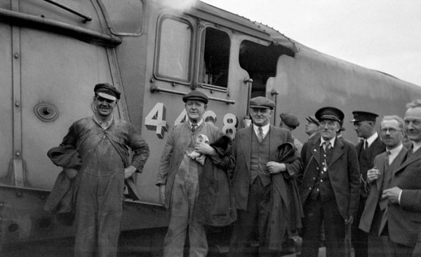 Taken at Peterborough after the run. Left to Right -  Tom Bray - Fireman, Joe Duddington - Driver & LNER inspector Mr Sidney Jenkins