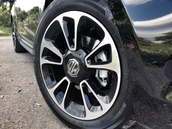 16-inch alloy wheels and lower ride height are obvious changes over the Chinese market MG3.