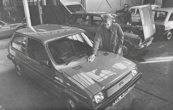 """Used Metro and Renault 6 being Valeted before customer handover. This one, and the one in the background both have """"I (heart) My Metro"""" stickers in. I remember these as a kid, were they a BL promotional item?"""