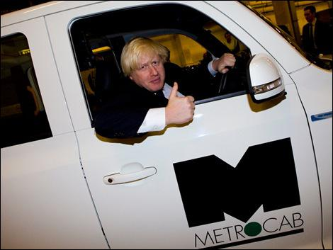London's unflappable Mayor Boris Johnson, gives the Metrocab the thumbs up.