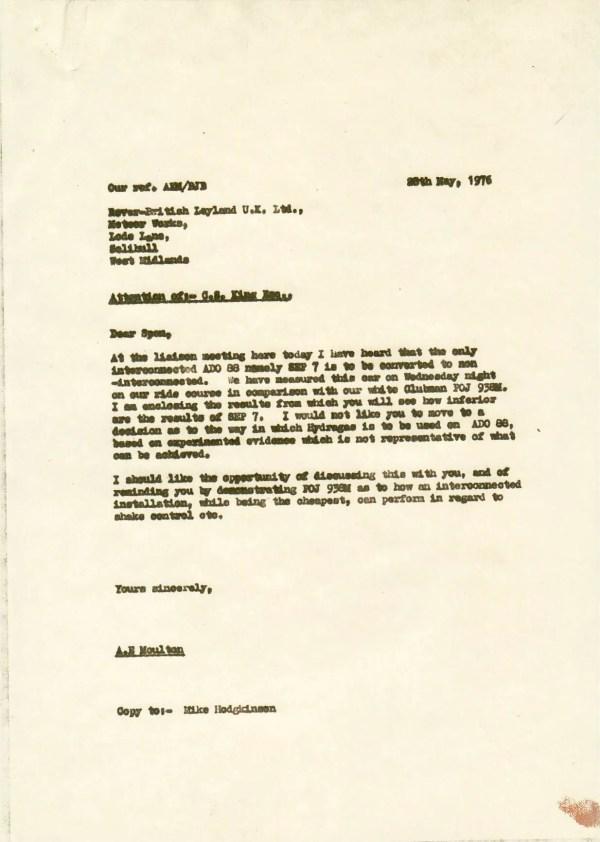 ADO88 Letter AEM to CSK 28.05.1976