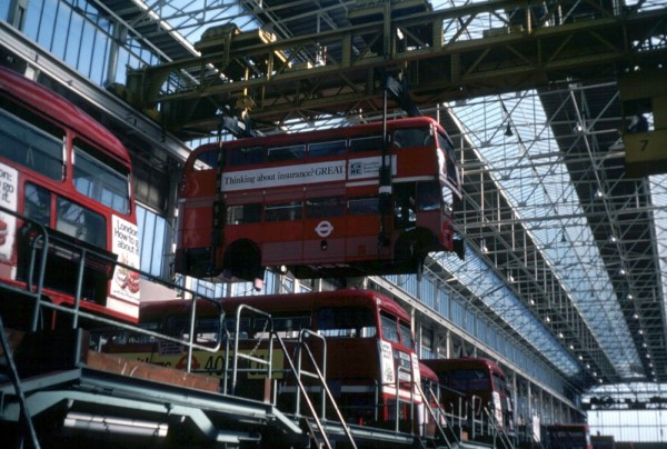 The London Transport Aldenham works was the worlds largest bus overhaul facility built at a time before competition in the industry. An RM is seen here going through a mid life rebuild, it closed in 1986.