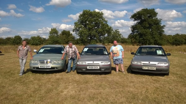Neil Rapsey, Me and Benny Adams with the three ARO project cars at the Peterborough BMC / BL Rally.