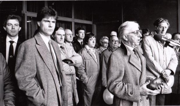 The mid '80s brought the real threat of closure to Cummins Darlington.Local MP Ossie O' Brien addresses a gathering to discuss their action plan. A couple of other local Members of Parliament who went on to bigger things can be seen on the back row