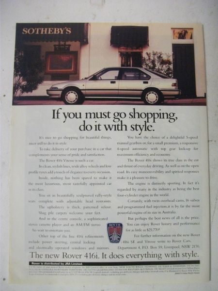 By the late 1980s, JRA was using the same 'premium' feel to its advertising as Rover in the UK