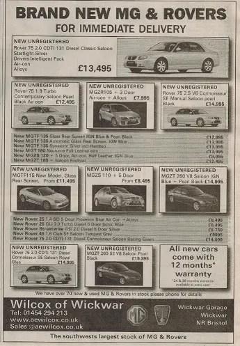 AE Wilcox Telegraph Motoring advert November, 2006 (3)