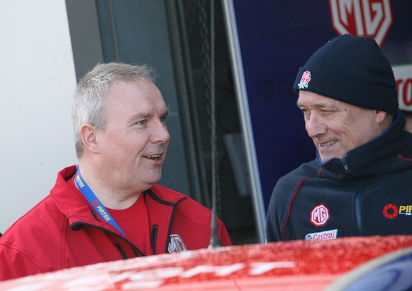 Matthew Cheyne, Head of Marketing, MG Motor UK and Ian Harrison, Team Principal, Triple Eight Racing during the BTCC Season Launch at Donington Park