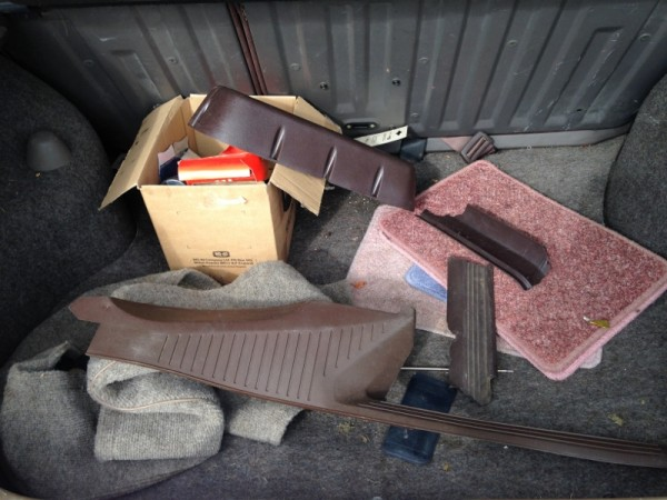 Some of the missing trim is in the boot. Some of it is also clearly broken...