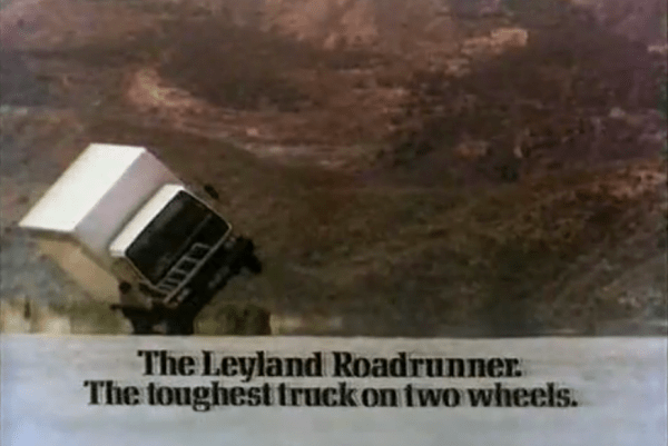 """The famous """"Money Shot"""" as the new baby Leyland truck goes up onto its offside wheels. An iconic image that featured on almost every Leyland brochure - I had this poster on my bedroom wall too."""