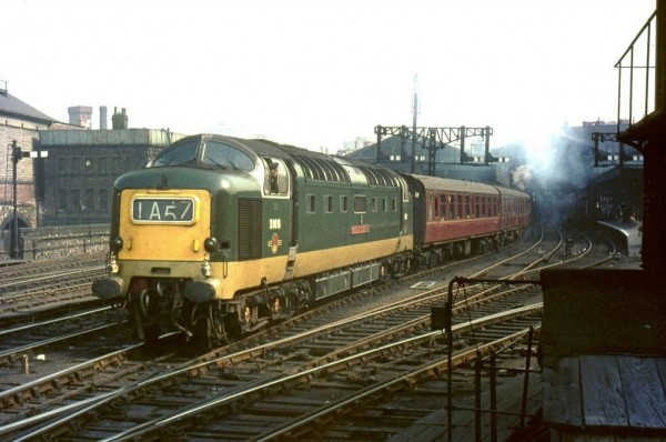 D9016 Gordon Highlander is departing Leeds Central past the signal box in 1965 with a West Riding express for King's Cross
