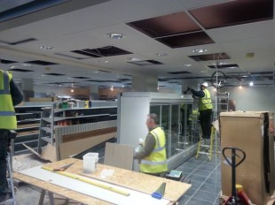 The conversion inside is well underway. The ceiling is lowered, floor tiles done and chillers in place.