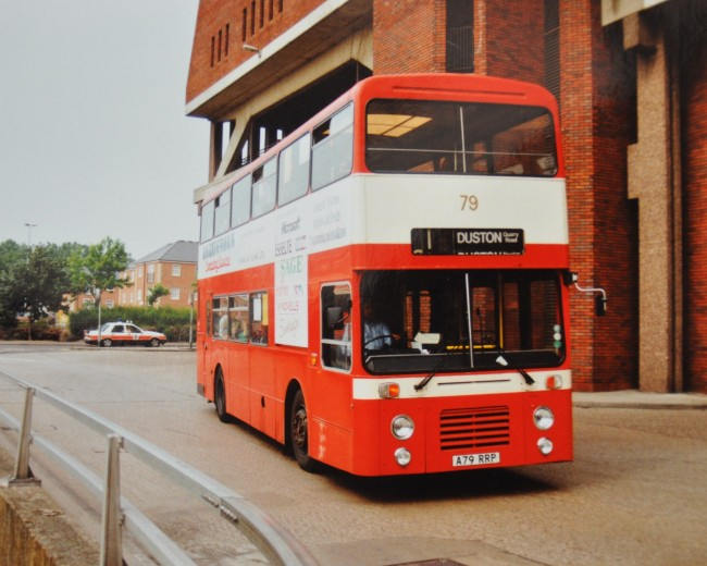 The Olympian was much more of a sympathetic specification than the Titan. Municipal operators showed strong interest that can be seen here as a Northampton Transport Leyland exists the cavernous gloom of the now demolished Greyfriars bus station.