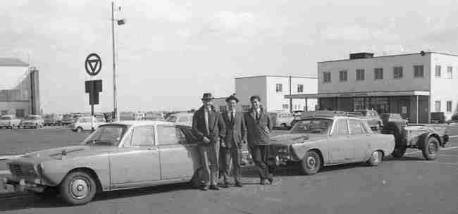 Rover P7: P7/2  and P7/1 plus trailer on their return to the UK following brake trials in the Alps