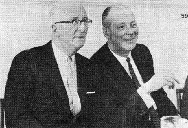 Sir William Lyons (left) and George Harriman (right) announce the creation of British Motor Holdings.
