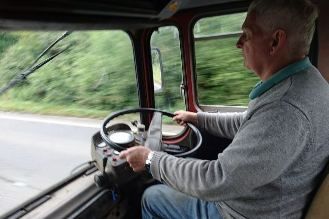 Tony Gothard behind the wheel of his beloved Leyland Octopus