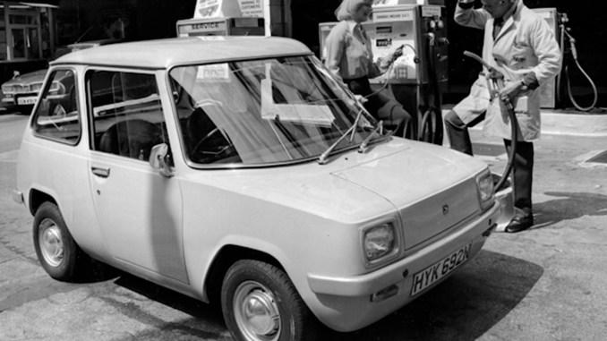 1974, Enfield 8000 Electric Car, top speed 40mph, range of up to 55 miles