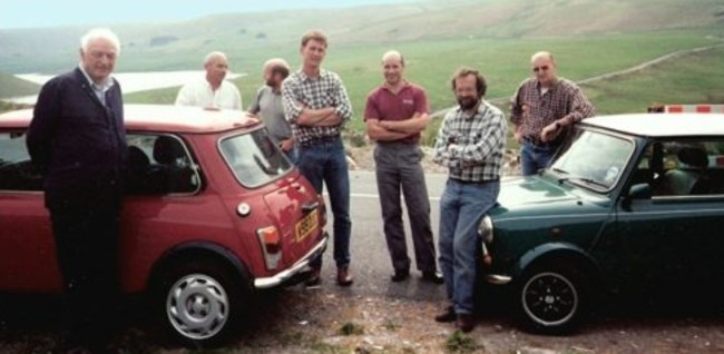 Minki masterminds (left to right): The late Alex Mouton, Brian Wilkes, John Cooper, Phil Turner, Al Phillips, Andy Smith, and Alwin Mrotzek, on the Cwmystwyth to Rhayader road (photo supplied by Andy RAM Smith).