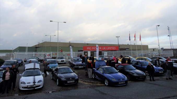 MGF enthusiasts lead an enthusiasts' gathering at Longbridge's Q-Gate to mark the impending demolition at the site
