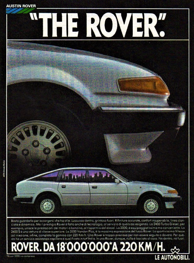 Rover (SD1 Series 2) advertising in Italy, where the 2400 Turbo Diesel sold well.