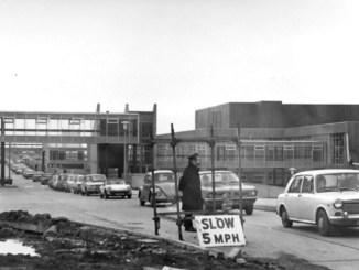 Swansea, DVLA staff exiting Car Park, Morriston Site, 1970's