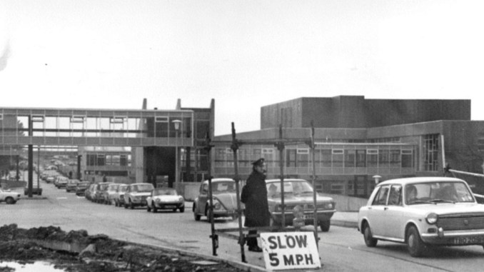 Swansea, DVLA staff exiting Car Park, Morriston Site, 1970's