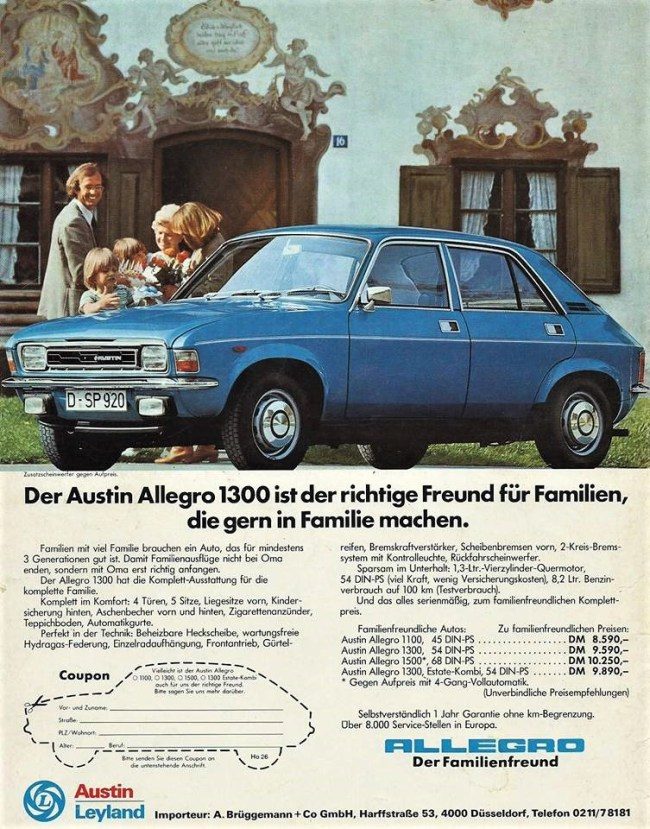 """The Series 2 Allegro in Germany c.1976. The slogan """"friend of the family"""" was used in later German marketing, though few families chose to welcome an Allegro into their lives."""