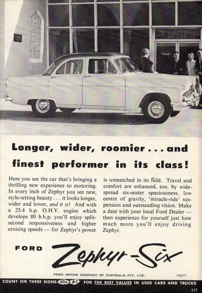 Ford's Zephyr Mk1 and Mk2 were popular in Australia (pictured) in the 1950s and early '60s. But their successor models were squeezed out by Fords of American origin.