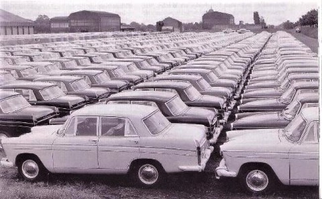 Stocks of Austin A60 Cambridge cars in the 1960s