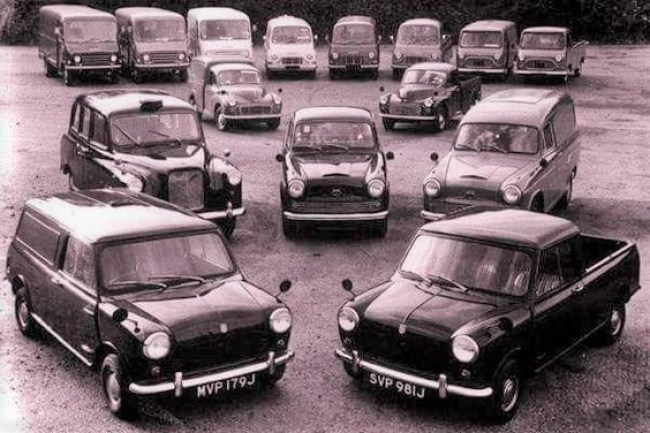 The 250 JU (centre back) slotted into a British Leyland light commercial range that was looking distinctly dated by the early '70s (though the EA van - left back - was new in 1968). The FX4 taxi was classed as a commercial vehicle so appears here.