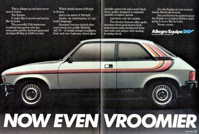 Sportier than the Sport: Under the bonnet the limited edition Allegro Equipe of 1979 was essentially the same as the twin carb Allegro 1750 Sport of 1974. But it had the two-door body, alloys and a rather bolder cosmetic treatment.