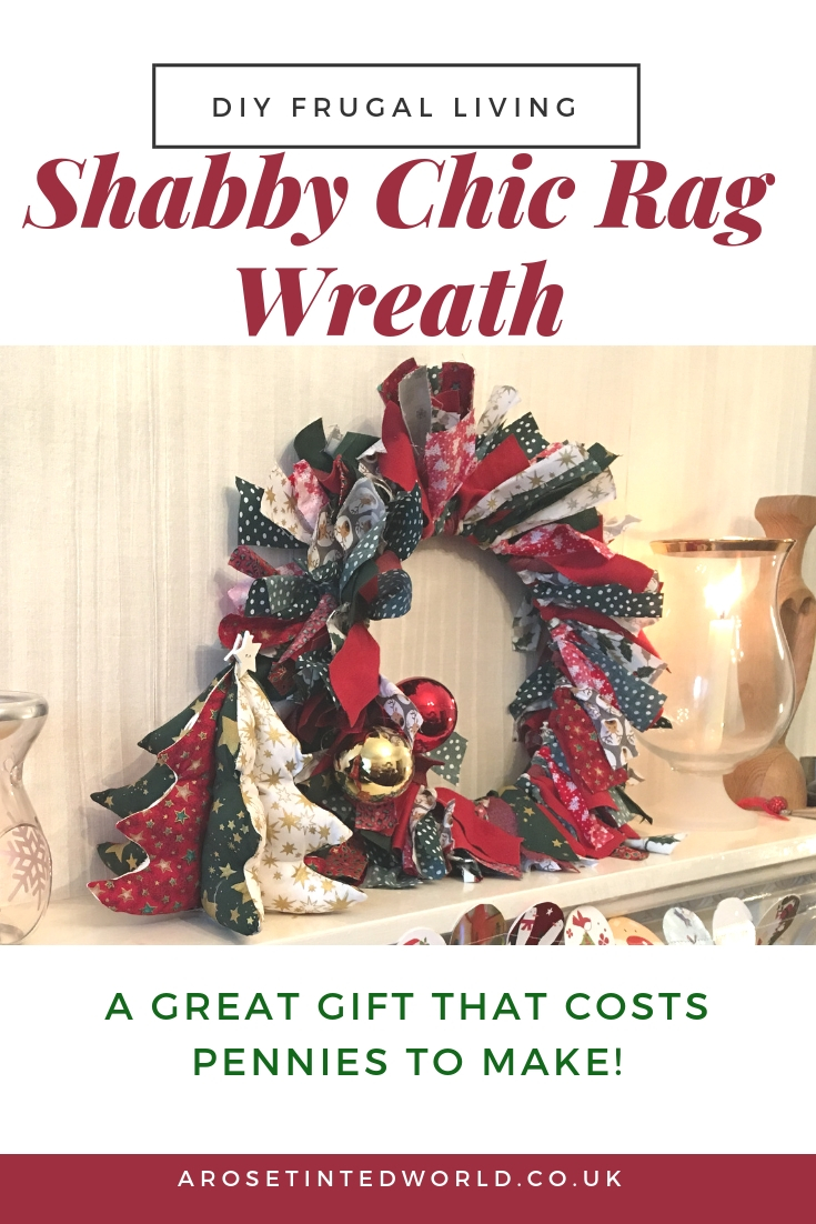 A festive rag wreath - DIY craft Shabby Chic Christmas Decoration that is frugal. Great gift. Holiday and Xmas ideas. #christmascrafts #christmasdecorations #christmaswreath #christmaswreathsdiy #frugallivingideas #christmasdiy #christmasdecor #wreaths #wreathdecorations #wreathdiy #zerowaste #zerowastexmas #diychristmas