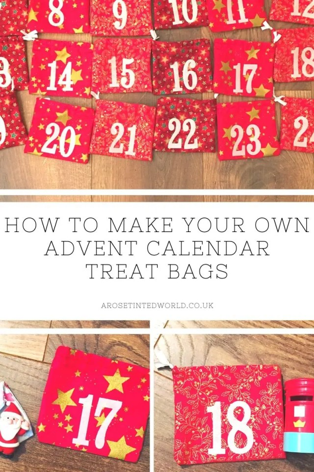 Advent Calendar Treat Bags - here's a picture tutorial on how to make an advent calendar of bags for each day leading up to Christmas. Perfect for a different small gift or present. Chocolate free advent calendar. Great gift idea #adventcalendar #advent #diychristmas #diyadvent #christmascrafts #christmasdecorations #christmasideas