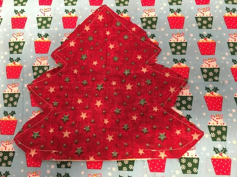 Padded Fabric Christmas Trees - trim seam allowance