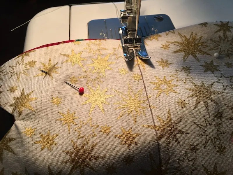 Padded Fabric Christmas Trees - sewing trees together