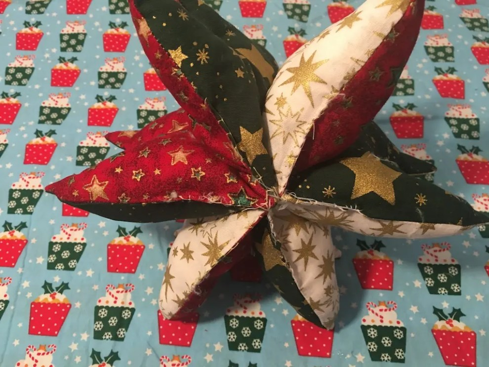 Padded Fabric Christmas Trees - sewn base