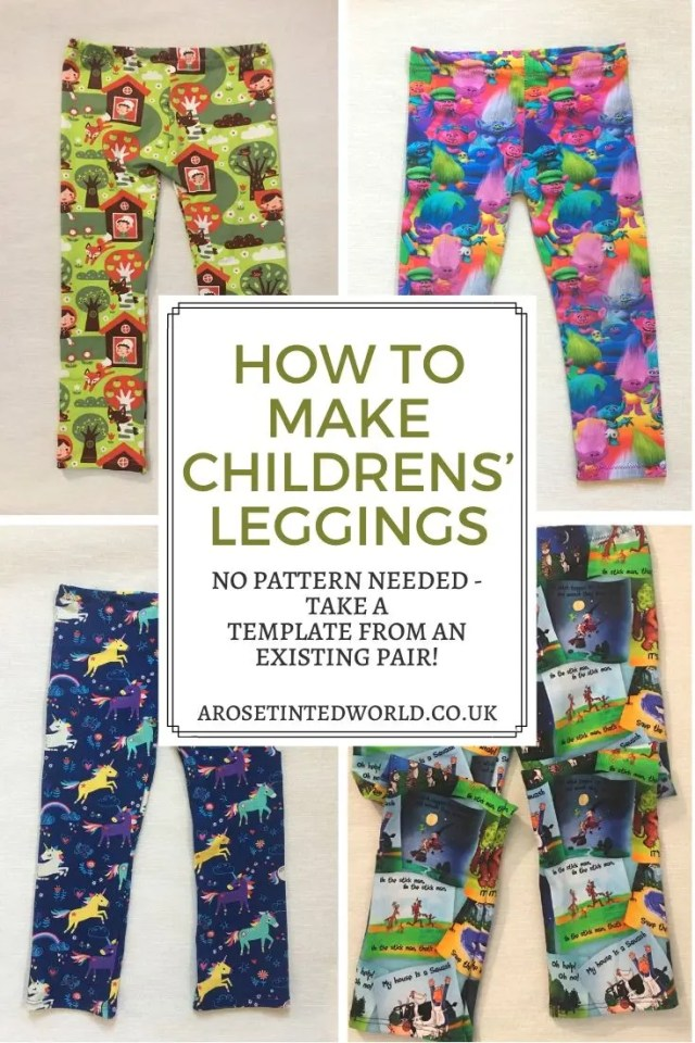 How To Make Childrens' Leggings Without Needing A Pattern - here is a great way of making a new pair of legging trousers for your child by using an existing pair as a template. No sewing pattern needed, this DIY step by step tutorial shows you how! Make your own baby, child and toddler clothes. #sewing #childrensclothes #childrensleggings #sewingprojects #sewingtutorials #sewingtips #leggingsforchildren #makeyourown  #dressmaking #childrensdressmaking #beginnerssewingprojects