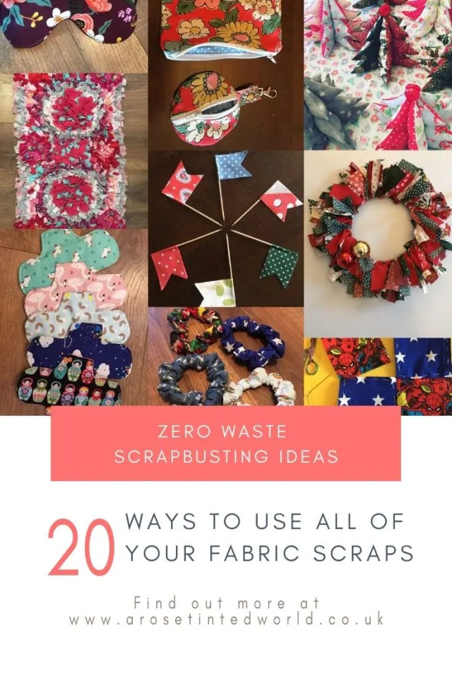 20 ways of using up all the fabric scraps in your scrap bag. Zero waste ways to make great gifts.Making Scrunchies From Fabric Scraps - using up waste fabric and up cycling old cloth to make other things #zerowaste #recycled #upcycled #fabricscraps #scrunchies #giftideas