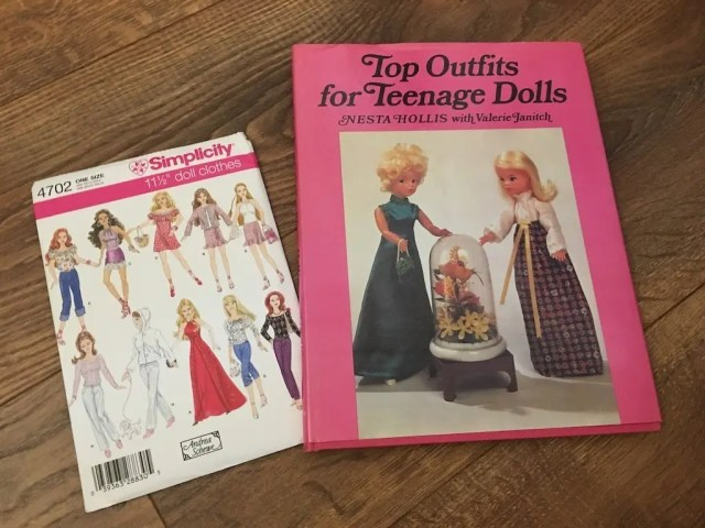 Doll dress pattern and vintage doll outfit book - great for using up fabric scraps