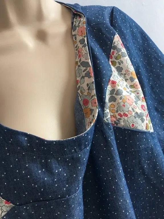 Bias binding at neckline instead of facings