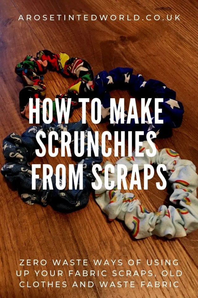 Making Scrunchies From Fabric Scraps - using up waste fabric and up cycling old cloth to make other things #zerowaste #recycled #upcycled #fabricscraps #scrunchies #90s
