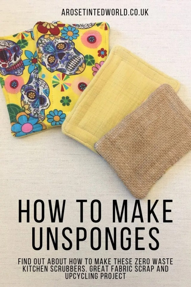 How To Make Unsponges - Make your own kitchen sponges - a great alternative to plastic bacteria breeding sponges and scrubbers. A great zero waste kitchen swap. Upcycle old clothes, towels and bedding to make these padded scrubbing washing cloths that can be laundered with the rest of your wash. DIY unsponge tutorial with pictures. Pictorial guide to making these sustainable recycled kitchen swaps. Environmentally friendly #unsponges #kitchenswaps #upcycling #sustainable #zerowaste #environmentallyfriendly #kitchenunsponges #diyunsponge