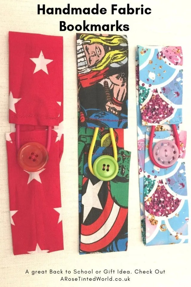 Handmade Fabric Bookmarks - great fabric bookmarks with an elasticarted loop to fit over books. Scrapbusting and zero waste idea for using up fabric scraps. Great gift idea for teachers at Christmas or end of term. Lovely gift idea. Make your own. DIY. Handmade presents. #scrapbusting #zerowaste #bookmarks #giftideas #teachergiftideas #backtoschool #scrapbustingidea #fabricbookmark #stockingfiller #handmadegift