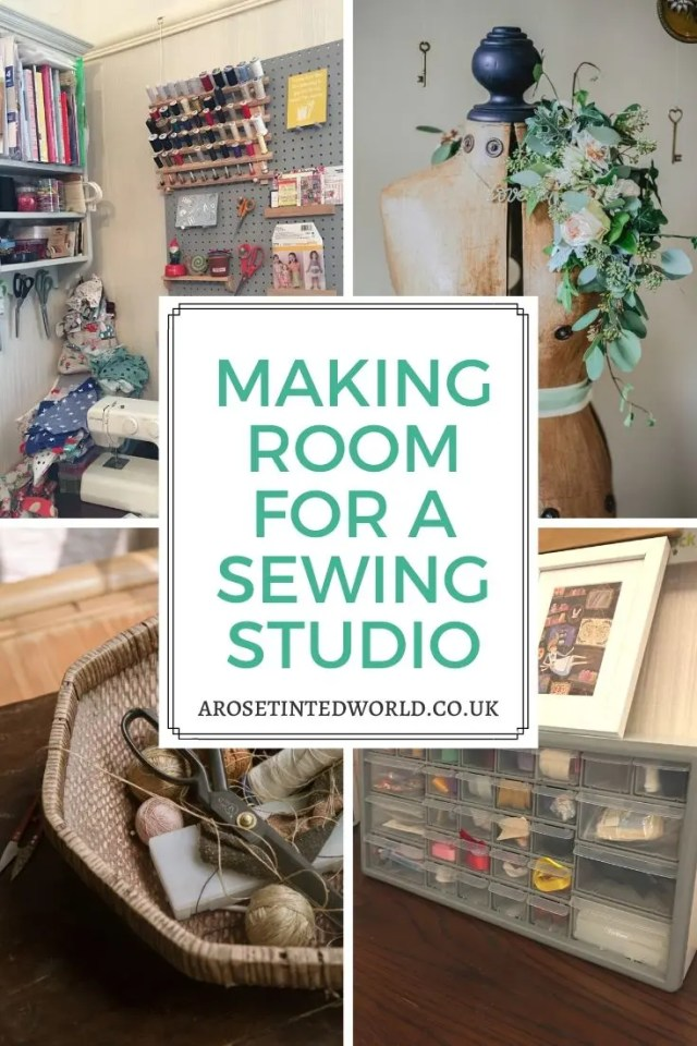 Making Room For A Sewing Studio can be hard, but by using these tips and tricks you can get the perfect craft space in even the smallest of places! #sewing #sewingstudio #storageideas #sewingstorage