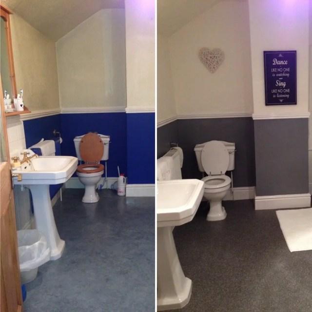 Old versus new bathroom