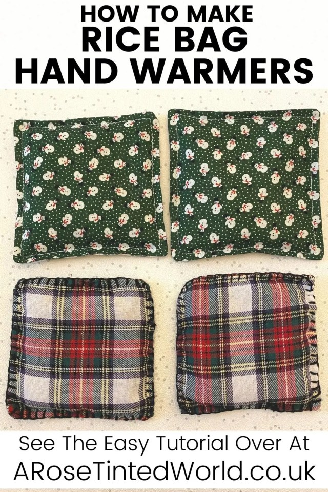 How To Make Hand Warmers - heated rice bags are perfect for keeping hands warm in winter. Make them as gifts, they are cheap and easy to make!