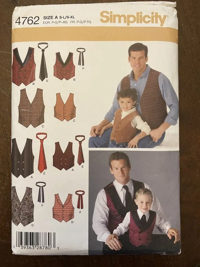 Simplicity pattern 4762 for mens waistcoats and ties